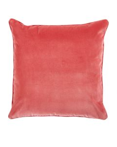 Velvet Decorative Throw Pillow in Coral with Self Pipe