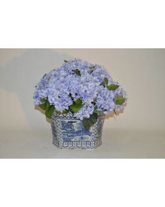 Large Blue Hydrangea Faux Floral Arrangement in a Blue and White Porcelain Footbath