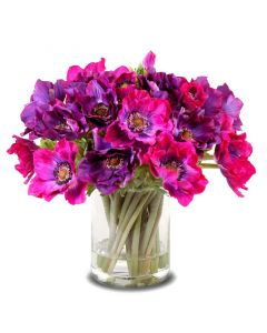 BARGAIN BASEMENT ITEM: Vibrant Purple Artificial Anemone Blooms and Buds Arrangement - IN STOCK IN GREENWICH, CT FOR QUICK SHIPING