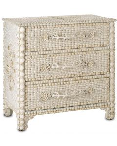 Victorian Style Natural Sea Shells 3 Drawer Chest