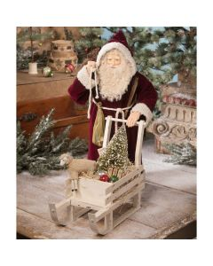 Victorian Santa With Sled of Toys Figurine Christmas Decoration