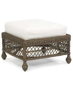 Vineyard's Cushioned Wicker Ottoman in Variety Colors