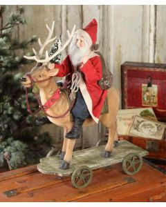 Vintage Santa Riding Reindeer Christmas Decoration