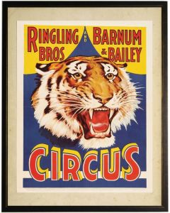 Vintage Circus Tiger Children's Wall Art - Available in Three Different Sizes