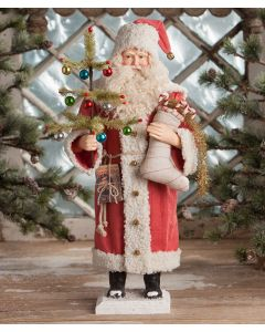 Vintage Santa with Stocking Christmas Decoration