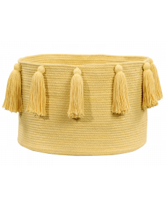 Washable Yellow Tassel Braided Storage Basket