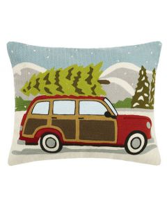 Wagon with Christmas Tree Holiday Pillow
