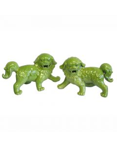 Porcelain Walking Foo Dog Pair in Lime Green - CALL TO CONFIRM AVAILABILITY