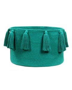 Washable Emerald Tassel Braided Storage Basket