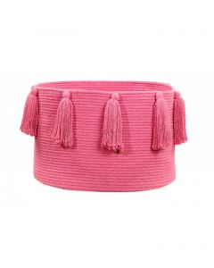 Washable Fuchsia Tassel Braided Storage Basket