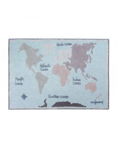 Washable Rectangular Vintage Map Rug for Kids
