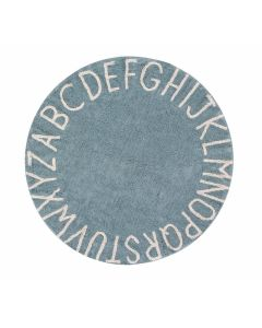 Washable Round Blue Alphabet Children's Rug