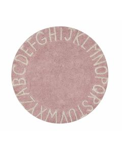 Washable Round Pink Alphabet Children's Rug