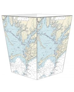 Watch Hill Nautical Chart Decoupage Wastebasket and Optional Tissue Box