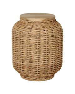 Water Hyacinth Wrapped Lidded Lantern Stool - CALL TO CONFIRM AVAILABILITY