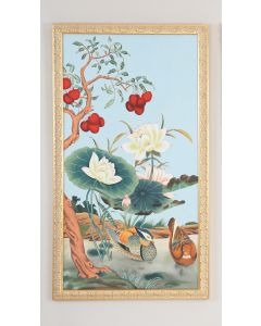 Watercolor on Silk Birds on Floral Tree Wall Panel