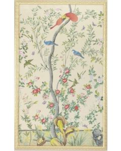 Multi Watercolor On Silk Chinoiserie Birds Panel Wall Art With Gold Frame
