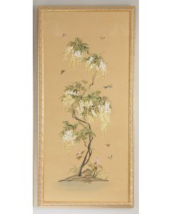 Watercolor on Silk Flowering Tree Chinoiserie Panel 2 Wall Art With Gold Frame