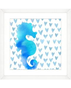 Watercolor Seahorse Silhouette and Pattern Child۪s Wall Art-Available in a Variety of Sizes