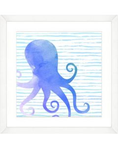 Watercolor Squid Silhouette and Pattern Child۪s Wall Art-Available in a Variety of Sizes