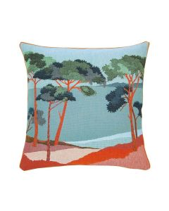 Waterfront Forest Landscape Woven Jacquard Pillow in Sky Blue