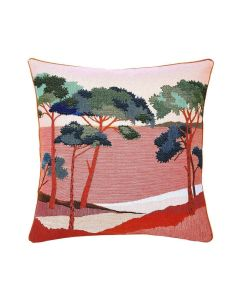 Waterfront Forest Landscape Woven Jacquard Pillow in Sunset Coral