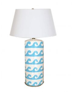 Wave Design Tole Small Table Lamp in Turquoise with Shade - CALL TO CONFIRM AVAILABILITY