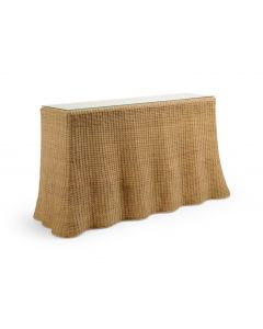 Florence Wicker Waves Scalloped Console Table in Natural - OUT OF STOCK