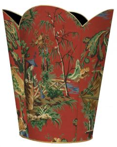 Red Chinoiserie Decoupage Wastebasket And Optional Tissue Box