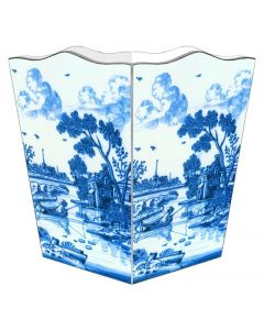 Delft Landscape Decoupage Wastebasket and Optional Tissue Box Cover