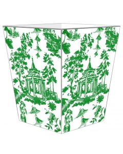 Green Chinoiserie Pagoda Decoupage Wastebasket and Optional Tissue Box Cover