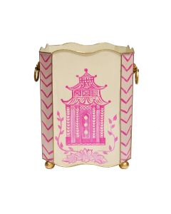 Worlds Away Hand Painted Pink Pagoda Wastebasket