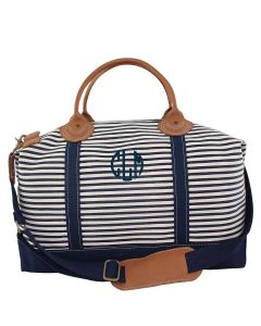 Navy Striped Weekender Canvas Duffel Bag With Optional Monogram