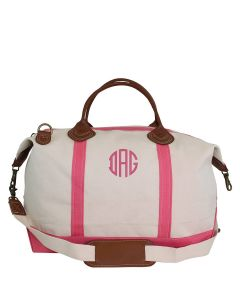 Weekender Canvas Duffel Bag With Optional Monogram in Coral