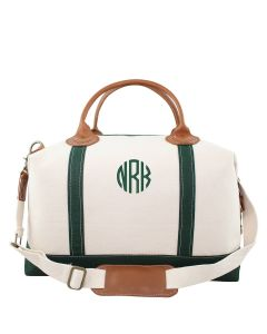 Weekender Canvas Duffel Bag With Optional Monogram in Green
