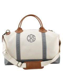 Weekender Canvas Duffel Bag With Optional Monogram in Grey