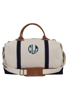 Weekender Canvas Duffel Bag With Optional Monogram in Navy