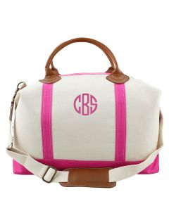 Weekender Canvas Duffel Bag With Optional Monogram in Pink