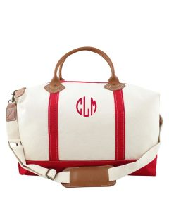 Weekender Canvas Duffel Bag With Optional Monogram in Red