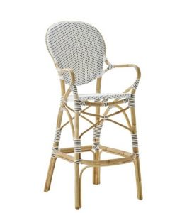 White Woven Bistro Style Bar Stool With Rattan Frame