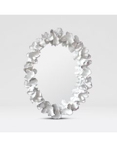 Made Goods White Coral Leaf Mirror with Silver Accents