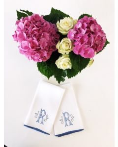 White Linen Blue Edge Guest Towel with Optional Camelia Monogram