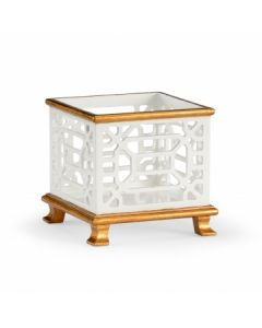 Small White Pierced Planter with Antique Gold Trim- ON BACKORDER UNTIL DECEMBER 2020