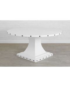 Handcrafted Reclaimed Wood Round Pedestal Dining Table in White