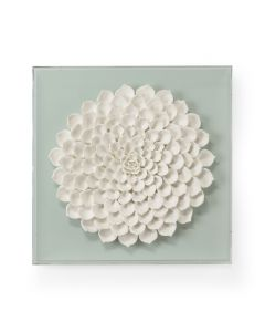 White Succulent Wall Sculpture on Mint Green - LOW STOCK