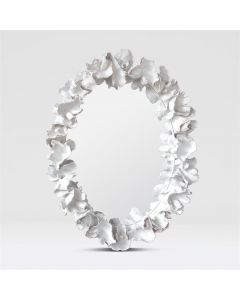 Made Goods Coco Hand Painted White Coral Oval Wall Mirror - Available in 3 Finishes