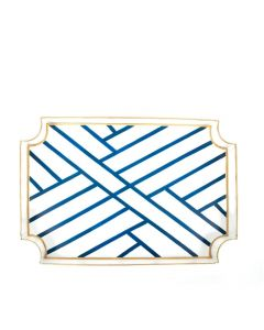 White and Blue Newport Fretwork Serving Tray