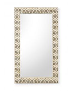 White And Brown Bone Inlay Rectangular Wall Mirror - OUT OF STOCK