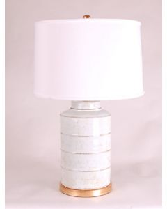 White and Gold Speckled Tea Caddy Table Lamp
