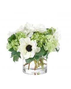 White and Green Anemone Snowball Faux Floral Arrangement in Glass Cylinder